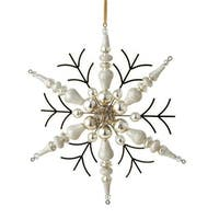 7 in. Silent Luxury Rustic Gold Beaded Finial Snowflake Christmas
