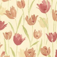 Brewster 347-20114 Finch Red Hand Painted Tulips Wallpaper - N/A