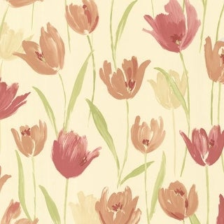 Brewster 347-20114 Finch Red Hand Painted Tulips Wallpaper