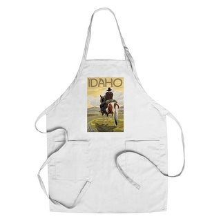 Idaho - Cowboy & Horse - Lantern Press Artwork (Cotton/Polyester Chef's Apron)