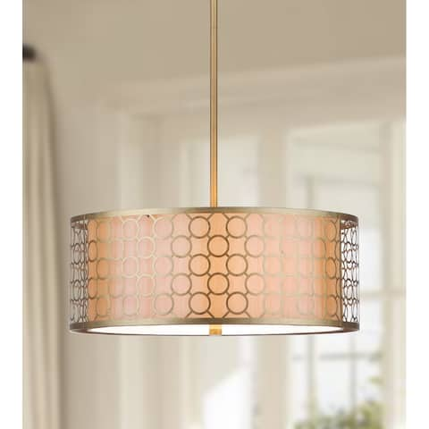 "Safavieh Lighting Giotta Adjustable 3-light Gold Drum Pendant - 18""x18""x9.25-45.25"""