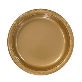 10 in. Heavy Duty Disposable Plastic Party Plates, Gold - Case