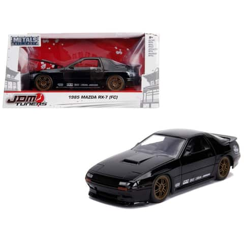 1985 Mazda RX-7 (FC) Black with Gold Wheels 'JDM Tuners' 1/24 Diecast Model Car by Jada