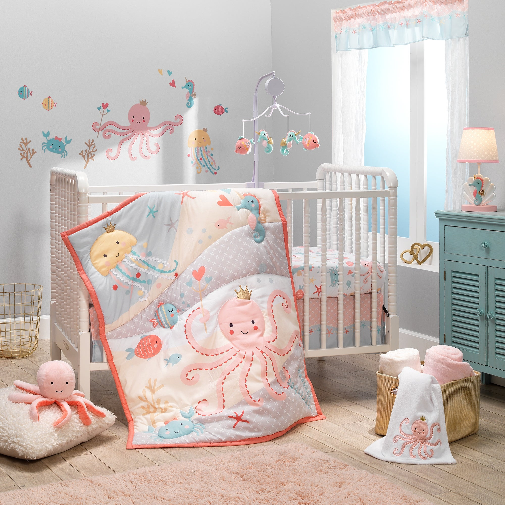 Bedtime Originals Ocean Mist 3-Piece Pink/Gray/Yellow Baby Crib Bedding Set