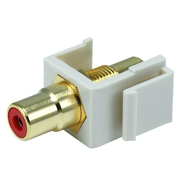 Monoprice Modular RCA Coupler Keystone Jack w/Red Center - Ivory