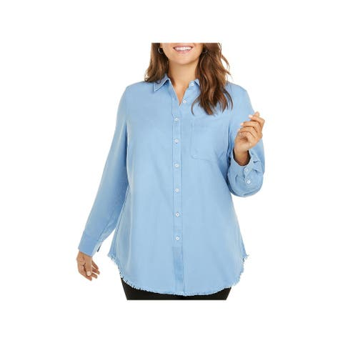 Foxcroft NYC Womens Button-Down Top Tencel Frayed Hem - Perfect Periwinkle