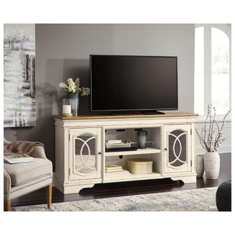 Realyn Casual Extra Large TV Stand w/Fireplace Option Chipped White
