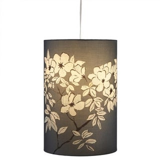 "18"" Medium Blue Asian Cherry Blossom Floral Hanging Pendant Ceiling Light"