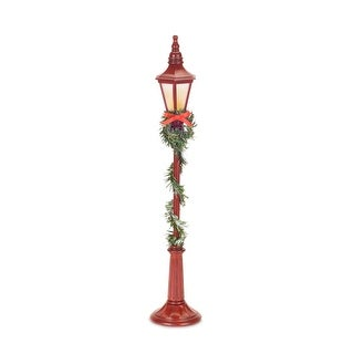 """Set of 4 LED Red Streetlight Christmas Decoration with Timer - Battery Operated 18.75"""""""