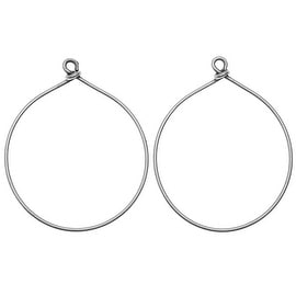 Nunn Design Wire Frame, Hoop Drop  31x38.5mm, 2 Pieces, Antiqued Silver Plated