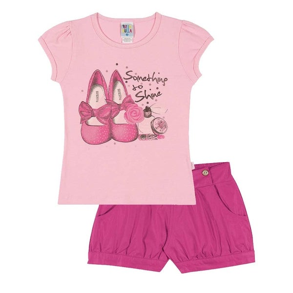 Girls Outfit Graphic Tee Shirt and Shorts Kid Set Pulla Bulla Sizes 2-10 Years