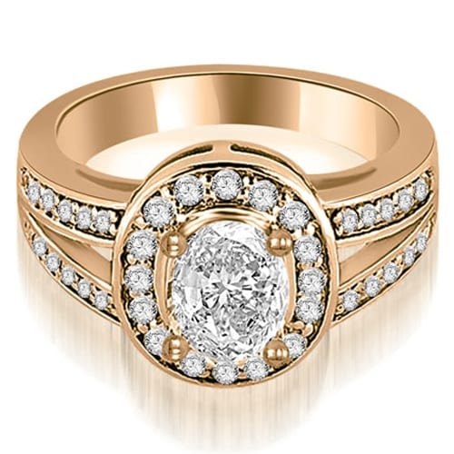 0.80 cttw. 14K Rose Gold Halo Oval Cut Diamond Engagement Diamond Ring