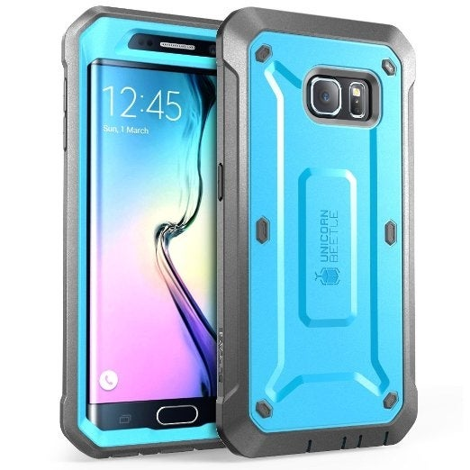 Supcase, Galaxy S6 Edge, Unicorn Beetle Pro Series, Full-body Rugged Holster Case, Built-in Screen Protector-Blue/Black