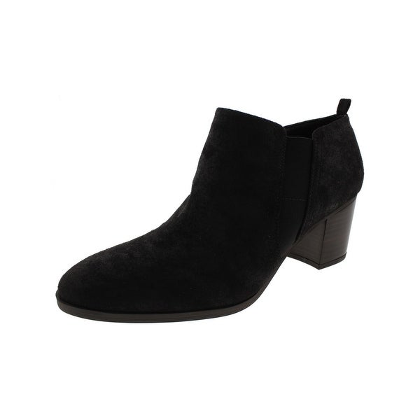Franco Sarto Womens Barrett Ankle Boots Faux Suede Stacked Heel