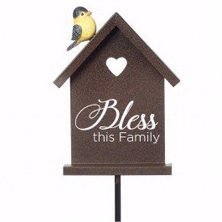 16 in. Garden Stake-Bless this Family, Metal & Resin
