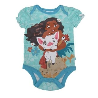 "Disney Baby Girls Turquoise Moana ""True To Your Heart"" Print Bodysuit"