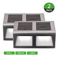 Solar Stainless Steel Step Perimeter Lighting (2 Pack) - 3 Sizes