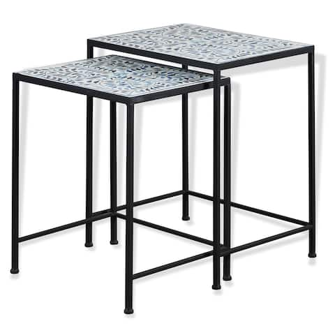 StyleCraft Kai Blue and White Patterned Ceramic with Black Steel Side Table (Set of 2)