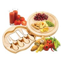 Costway 5 PCS Stainless Steel Cheese Knife Set with Round Wood Slide Out Cutting Board - as pic