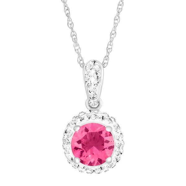 Crystaluxe October Pendant with Pink Swarovski Crystals in Sterling Silver - ROSE