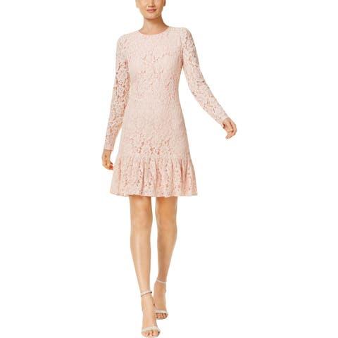 Calvin Klein Womens Petites Party Dress Ruffled Hem Lace