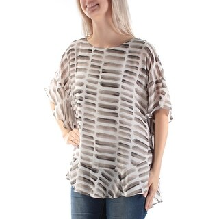 Womens Gray White Printed Sleeveless Boat Neck Casual PONCHO Top Size S