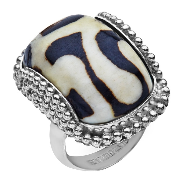 Sajen Mud Bead Ring in Sterling Silver - White