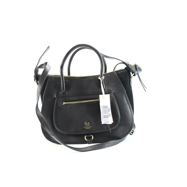 Radley London New Black Gold Satchel Leather Zip Top Handbag Purse