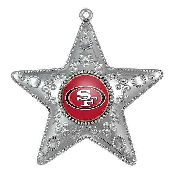 "San Francisco 49ers 4.5 Silver Star Ornament"""