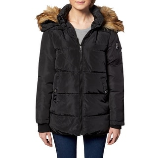 Link to Madden Girl Women's Quilted Faux Fur Trim Hooded Convertible Winter Puffer Coat - Black Similar Items in Women's Outerwear