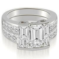 3.30 cttw. 14K White Gold Channel Diamond Princess and Emerald Cut Bridal Set