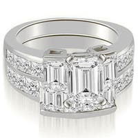 3.55 cttw. 14K White Gold Channel Diamond Princess and Emerald Cut Bridal Set