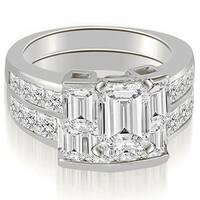 3.80 cttw. 14K White Gold Channel Diamond Princess and Emerald Cut Bridal Set