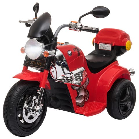 Aosom Ride-on Electric Motorcycle for Kids with Music & Horn Buttons, Stable 3-Wheel Design, & Rear Storage Space