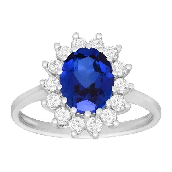 3 1/6 ct Created Blue and Created White Sapphire Ring in 10K White Gold