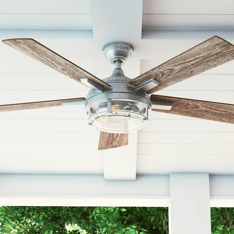 "52"" Prominence Home Freyr Indoor / Outdoor Craftsman Ceiling Fan, Galvanized"