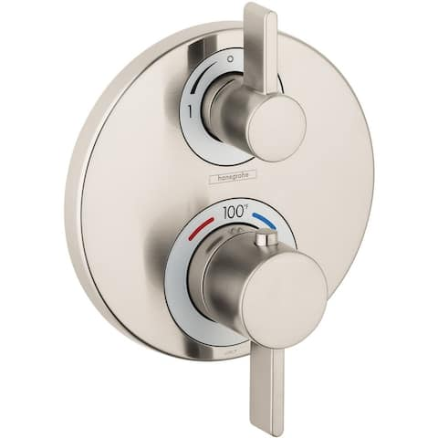 Hansgrohe 15758 Ecostat Dual Function Thermostatic Valve Trim Only with Integrated Diverter and Volume Control -