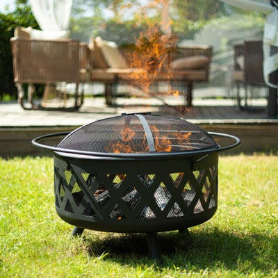 """CO-Z 30"""" Wood Burning Steel Fire Pit for Outdoor with Screen, Poker, Cover"""