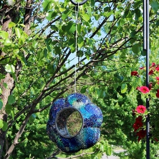 Sunnydaze Indigo Glass Flower Fly-Through Hanging Outdoor Bird Feeder - 9-Inch