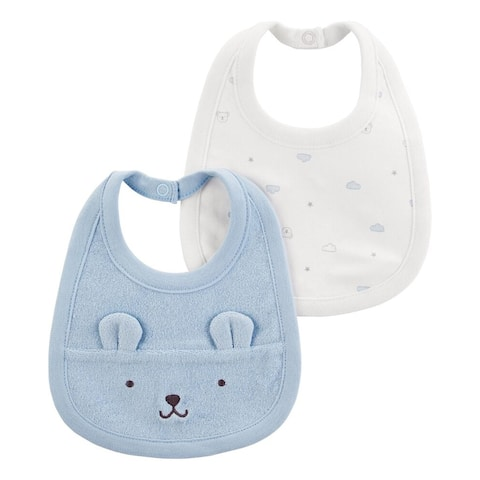 Carter's Baby Boys 2-Pack Teething Bibs with Water Barrier , Bear, Blue