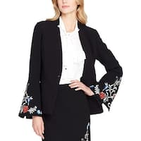 Tahari Womens One-Button Blazer Embroidered Bell Sleeve