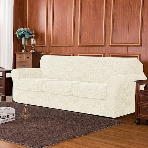 Subrtex 4-Piece High Stretch Jacquard Cover with 3 Separate Cushion