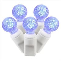 Blue Commercial Grade LED G12 Berry Christmas Lights - White