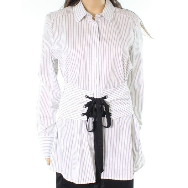 4c9364f8f Shop Jolt White Womens Small S Lace-Up Striped Button Down Shirt Blouse -  Free Shipping On Orders Over $45 - Overstock.com - 22478064
