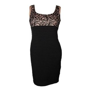 Calvin Klein Women's Scoop Neck Lace Pintucked Jersey Dress
