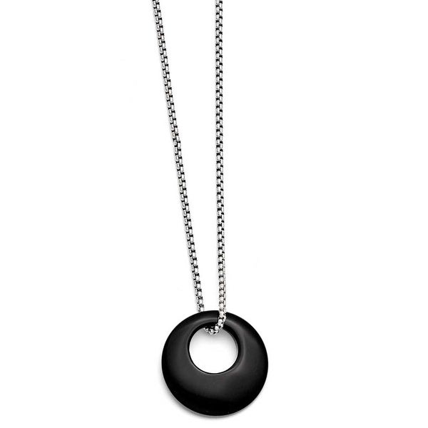 Chisel Stainless Steel Black Onyx Large Circular Polished Necklace (2 mm) - 18 in