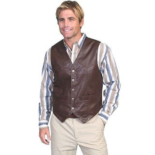 Scully Western Vest Mens Lambskin Leather Snap Brown Soft 507-143