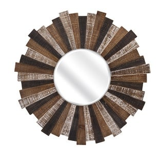 "IMAX Home 88698  33"" Diameter Circular Beveled Wood Framed Accent Mirror - Brown"