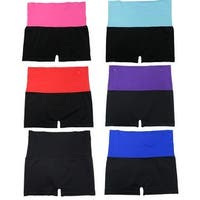 Women 6 Pack Fold-Over Strip Color Waistband Solid Sports Yoga Short Leggings Pants