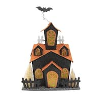 """11.25"""" LED Lighted Glitter Drenched Halloween Haunted House Table Decoration - Black"""